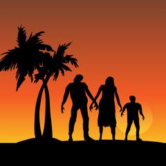 Three Zombies Walking on Sunset Beach