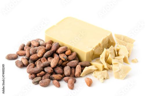 Keuken foto achterwand Snoepjes Kakaobohnen und Kakaobutter