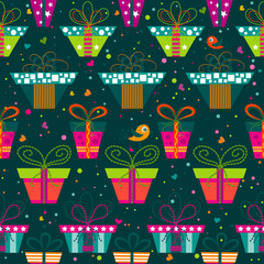 Seamless gift  pattern, vector