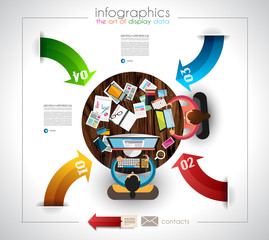 Infographic template with flat UI icons for ttem ranking