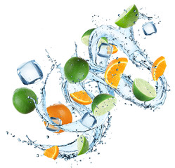 Fresh oranges and limes with water splash