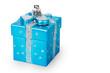 Bright Christmas tree toy blue gift box