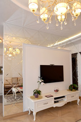 Interroom mirror wall partition in a living room. Modern classic
