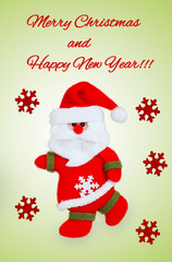 Card with Santa Claus, red snowflakes and text