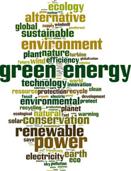 Green energy word cloud concept. Vector illustration