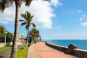 Promenade in Maspalomas on Canary islands