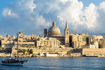 Cityscape and Marsamxett Harbour, Valletta, Malta
