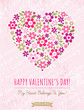 pink background with valentine heart of spring flowers,  vector