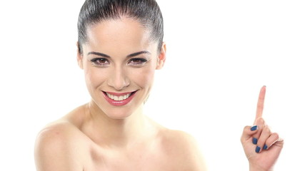 smiling beautiful woman pointing imaginary object