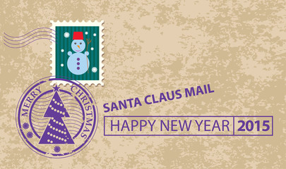 Christmas card with stamp