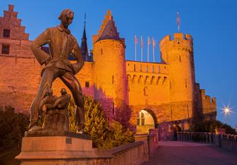 Antwerp - Steen castle and statue of Lange Wapper