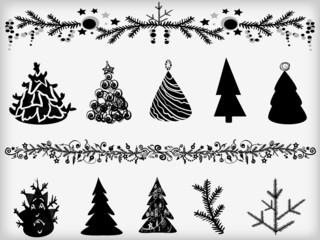 Set of fir-trees and garlands.