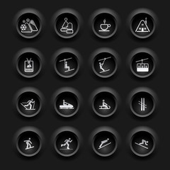 Winter Icons - Buttons Black