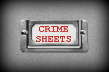 Drawer Label for Crime Sheets in black and white with red text