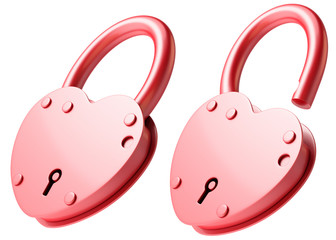 Red heart-shaped lock
