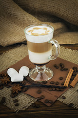 Coffee latte in glass cup