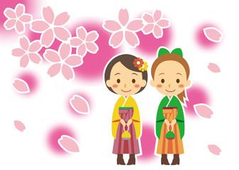 春 ブーツで袴姿の女性