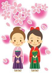 春 袴姿の女性
