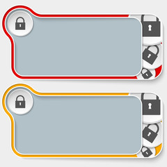 set of two abstract text boxes and padlock