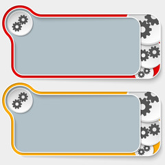 set of two abstract text boxes and cogwheels