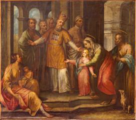 Bergamo - Presentation in temple fresco in church of Immacolata
