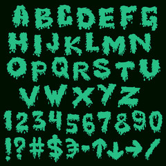 Green font smudges. alphabet splashing