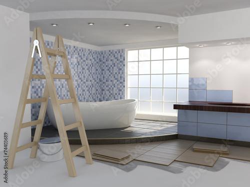 Bathroom renovation - blue tiles - 74403689