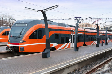Modern european train in Estonia