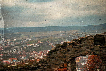 Old photo with aerial view of city Deva, Romania 3