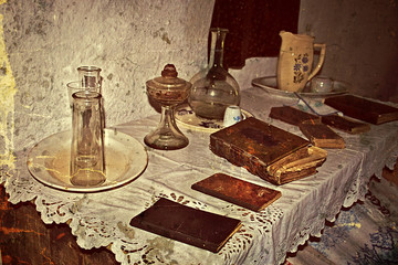 Old photo with Romanian traditional home interior 4