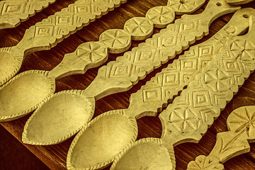 Old photo with romanian wooden spoons carved
