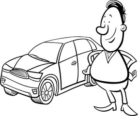 man and car cartoon coloring page