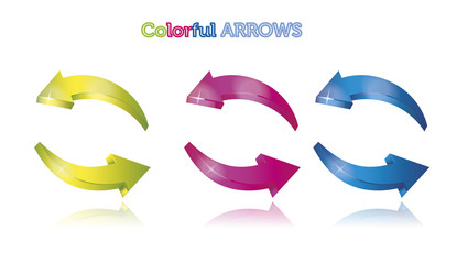Set of colorful arrows isolated on white background