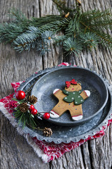 Christmas gingerbread man on a plate