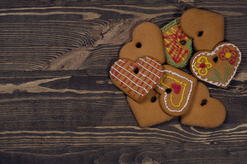 Homemade cookies on a wooden background