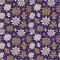Seamless texture of painted flowers on a purple background.