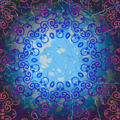 Mandala round frame in blue color. Abstract grunge element