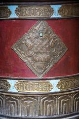 Buddhist prayer wheels in Tibetan monastery. India, Ladakh