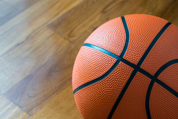 Close-up of Basketball on the Court Floor