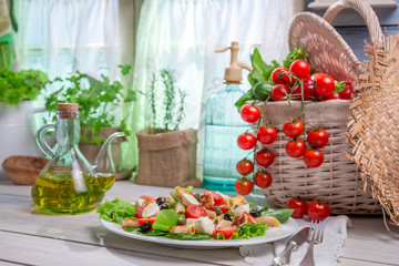 Healthy food with fresh vegetables