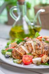 Caesar salad with fresh vegetables