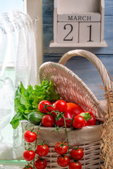 Fresh vegetables and day of spring