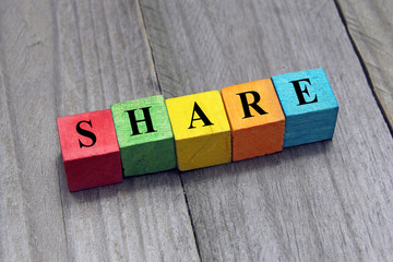concept of share word on wooden cubes