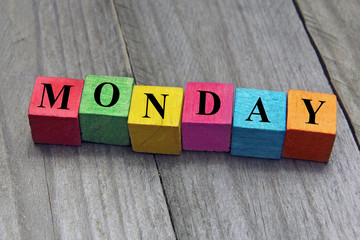 concept of monday word on wooden cubes