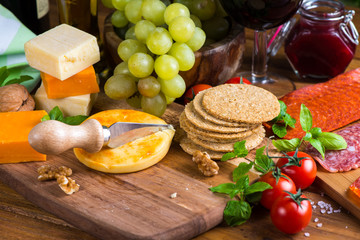 traditional  english apricot soft cheese with oat crackers