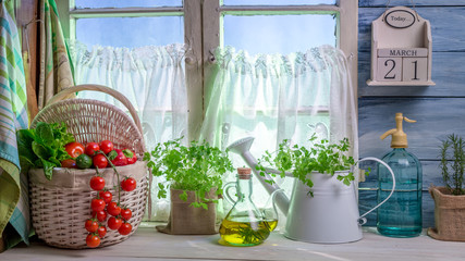 Full kitchen with fresh spring vegetables