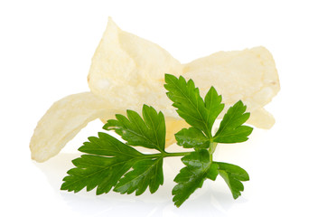 Potato chips and parsley