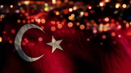 Turkey Flag Light Night Bokeh Abstract Loop Animation