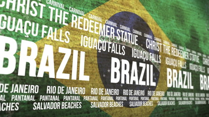Brazil Flag Tourism Attractions Scrolling Banner
