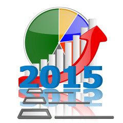 2015 business graph chart and check with reflection